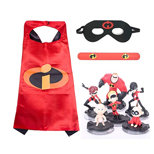 "Incredibles 2 Action Figures With Halloween Costume Set/Mr. Incredible Toy Playset 6 Pcs 2-4"" Tall/Birthday Decorations Cake Toppers/Mask Cape Bracelet Costume -"