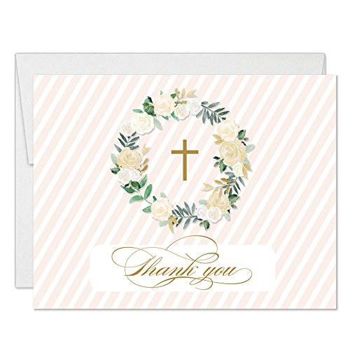 Boy Girl Baby Baptism Thank You Notecards with Envelopes (Pack of 25) Neutral Newborn Christening Matching Invites Thank You Gracias Blank Religious Christian Church Ceremony Excellent Value VT0096B