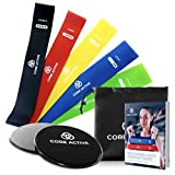 Raiden Arsenal Resistance Bands and Sliders Set with eBook - Premium Core Active Resistance Loops (5 levels of resistance) and Two Black Gliding Discs - 80 Day Obsession Equipment