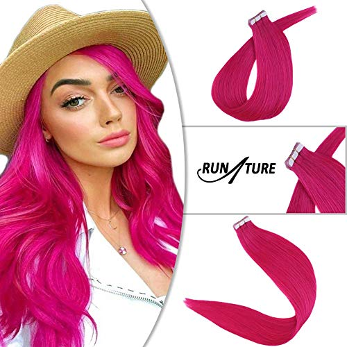RUNATURE 20inch Hair Extensions Tape-ins 10pcs 25g Tape on Human Hair Hot Pink Color Fashion Girls Seamless Hair Extensions for Party from RUNATURE