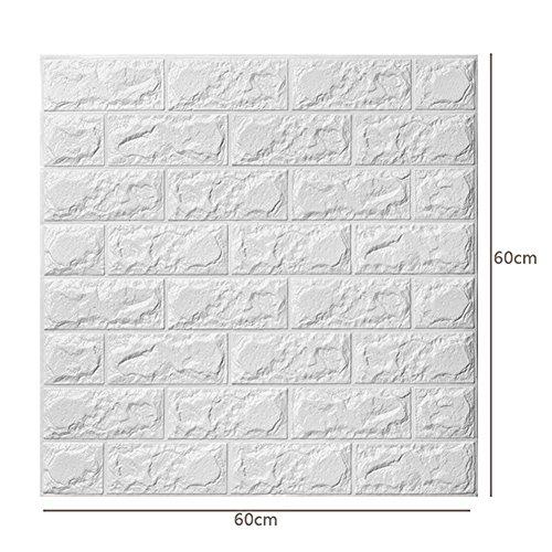 Zehui Adhesivo de Pared, resistente a la humedad, espuma en relieve 3D con patrón de ladrillo , Blanco