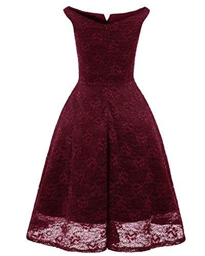 de Vestido Deer Bardot Vestidos con en de de Midi Rojo V Encaje Mujer Bright escote Fiesta Ceremonia 4Sn6w5qq