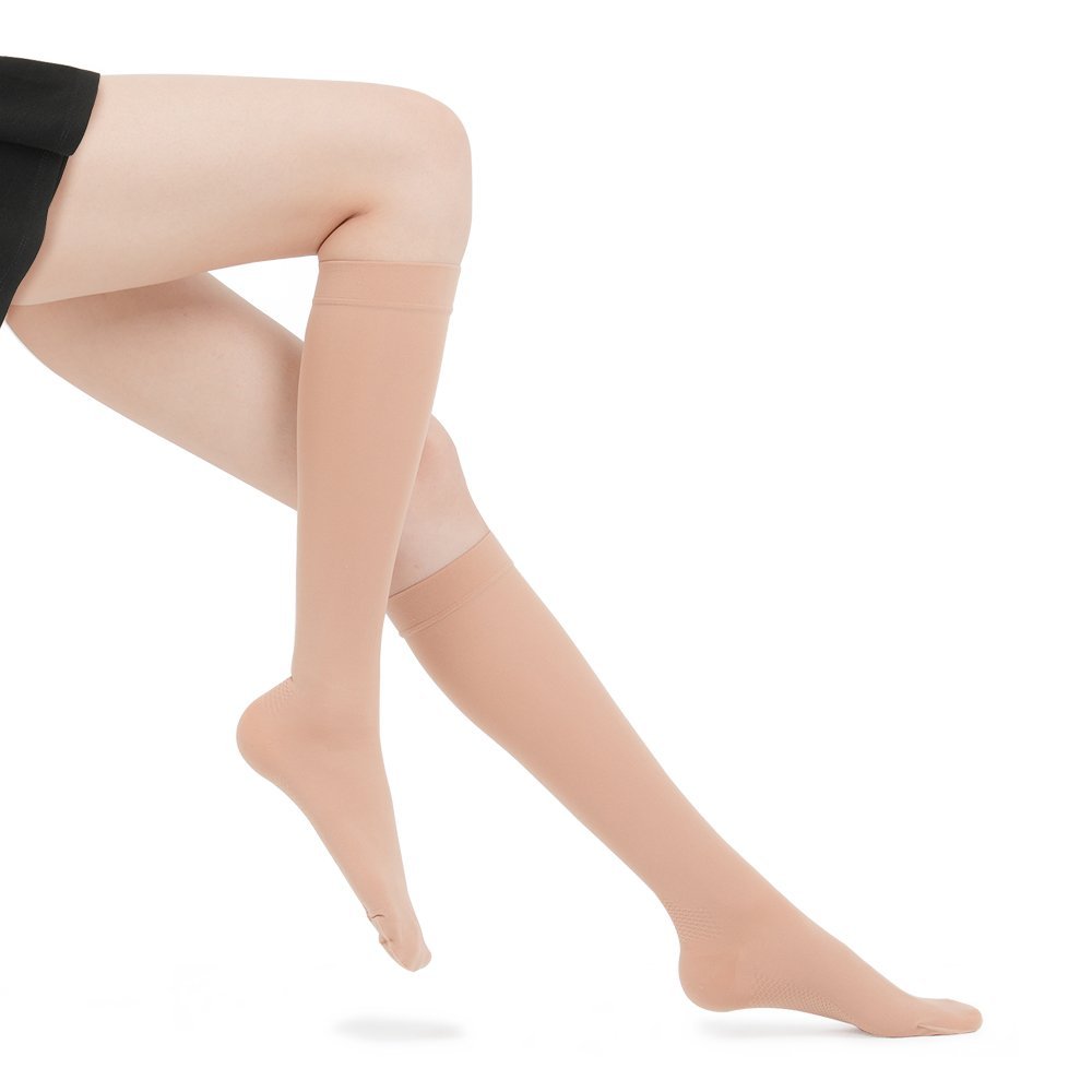 Fytto 1007N Women's Compression Socks, 15-20mmHg Sheer Knee High Hosiery - Graduated Support Hose for Travel, Varicose Veins & Pregnancy, Nude, Small