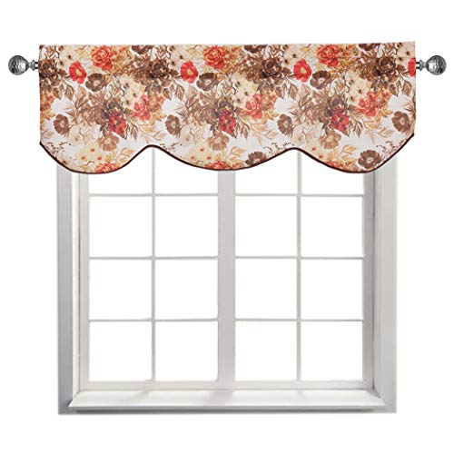Home Queen Faux Linen Classical Print Curtain Valance Window Treatment for Living Room, Short Straight Drape Traditional Style Valance, Set of 1, 54 X 18 Inch, Bouquet ()