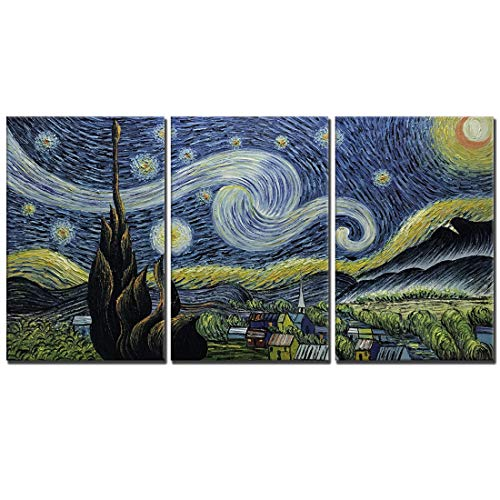 Amei Art Paintings,20''30'' 3 Piece Hand-Painted on Canvas Blue Starry Night Van Gogh Famous Abstract Oil Painting Reproduction Art Modern Home Decor Wall Art Wood Inside Framed Ready to Hang