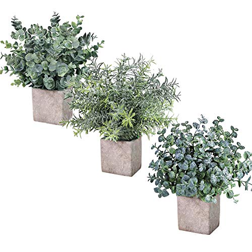 Artificial Plants,Mini Green Fake Potted Plants for Mantle Decor,Bathroom Shelf,Dining Table centerpieces,Farmhouse…