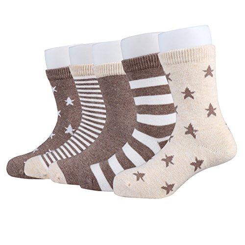 ChigenBird Boy/Girl Crew Socks 5 Pack for Toddler/Little/Big Kid (3-24 years)