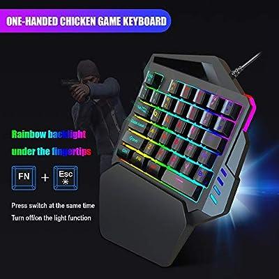 GWX con una Sola Mano del Teclado Interruptor RGB Light Blue 35 Teclas de Respuesta rápida Teclado para Juegos con Bluetooth para Xbox One / PS4 / PC/Mac/Los Jugadores portátiles,Keyboard+mouse1: Amazon.es: Hogar