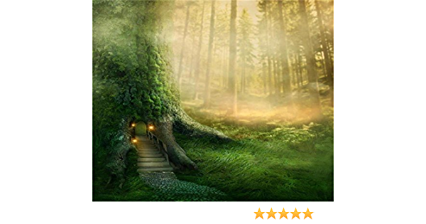 LFEEY 10x10ft Magic Forest Wood Door Background Dreamy Jungle Tree Florets Misty Wonderland Landscape Photography Backdrop Fairy Tale Lamps Fantasy Paradise Blur Woods Photo Studio Props Wallpaper