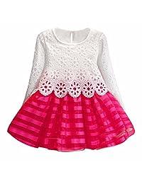 FEITONG(TM) Little Girls Long Sleeve Princess Flower Dress