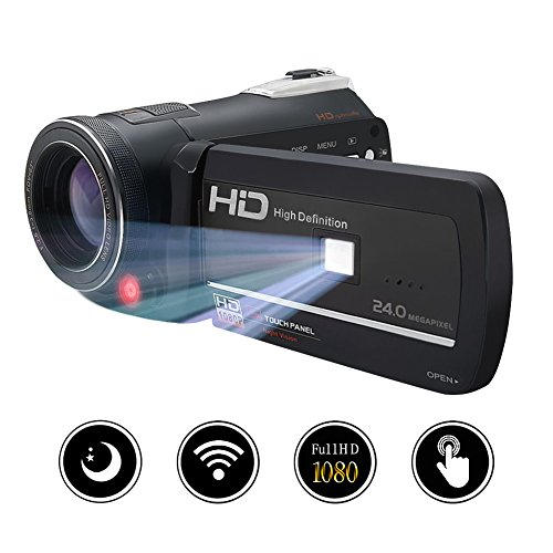 Camcorder Camera Digital Video Recorder FHD 1080P 24MP WiFi Connection With Night Vision 3'' LCD Touch Screen by Gongpon