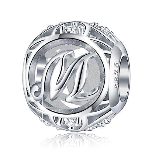 (FOREVER QUEEN Letter Charm Initial A-Z Alphabet Charm Dangle Charm for Bracelet Necklace, 925 Sterling Silver CZ Beads Charm Personalized Jewelry Gift for Men Women Girls Birthday Valentine's Day (M) )