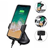CloverTale iPhone 8 X Wireless Car Cell phone Charger Holder Mount, Vent Clip Mount handsfree Driving Samsung Glaxy Note 8/S8/S8 Plus and All Qi-Enabled Devices (Suction Mount)