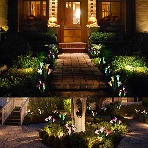 Wohome Outdoor Solar Garden Stake Lights,3 Pack Solar Flower Lights with 12 Lily Flower Multi-Color Changing LED Solar Landscape Lighting Light for Garden Patio
