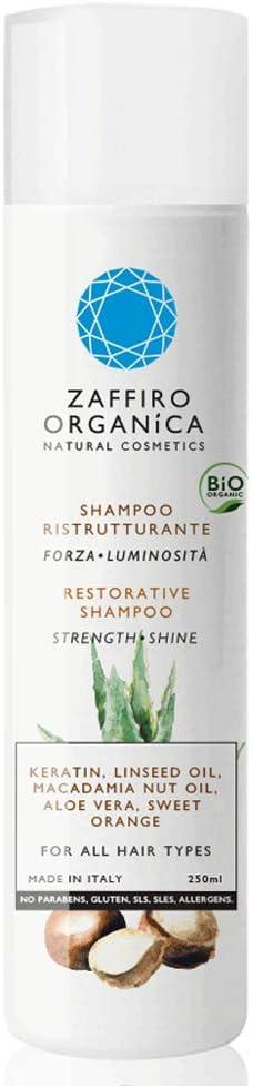 Zaffiro Orgánica Champú ECOLÓGICO con KERATINA VEGETAL, aloe vera y aceite de macadamia|SIN SULFATOS, PARABENOS Y SILICONAS|Repara las puntas abiertas|Para cabello seco graso dañado encrespado 250ml