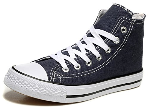Idifu Womens Ademend Lace Up Hoge Top Canvas Sneakers Plat Walking Skateboard Schoenen Blauw