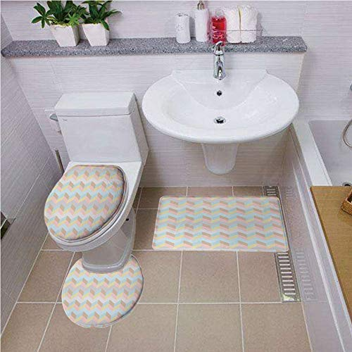 Bath mat set Round-Shaped Toilet Mat Area Rug Toilet Lid Covers 3PCS,Pastel,Old Fashioned Chevron Pattern Horizontal Zigzag Lines Geometric Abstract Soft Colors,Multicolor ,Bath mat set Round-Shaped T