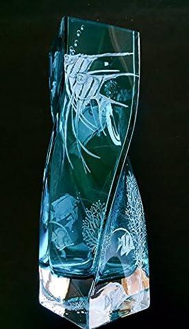 Hand Engrave Angel Fish Vase, Tall Floral Vase, Engraved Vase Fish, Home Decor Vases, Flower Vase Etched, Office Decor - Floral Etched Crystal