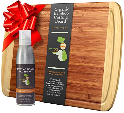 Extra Large Bamboo Cutting Board and Cutting Board Oil Set - Wooden Cutting Boards for Kitchen, Wood Cutting Board, Chopping Board and Chopping Block with Butcher Block Conditioner (Best Oil For Wooden Chopping Board)