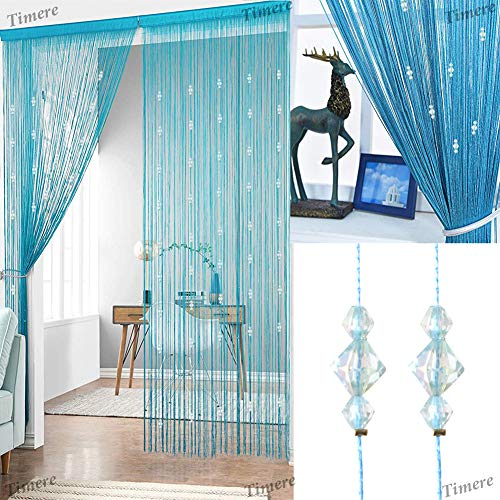 Timere Crystal Beaded Curtain Tassel Curtain - Partition Door Curtain Beaded String Curtain Door Screen Panel Home Decor Divider Crystal Tassel Screen 90x200cm (Blue#) (Beaded Doors)