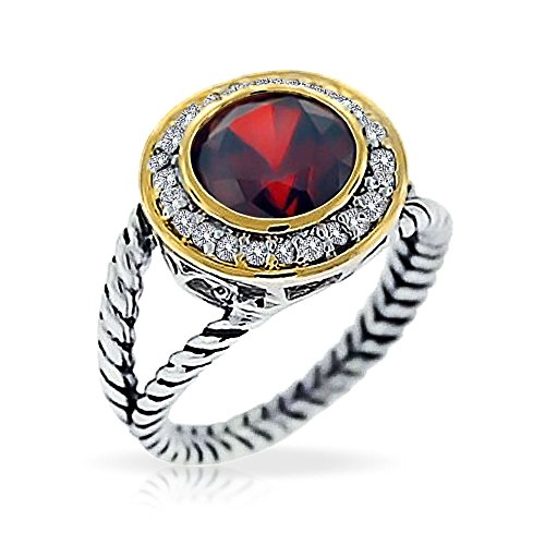 Sterling Silver Vermeil Ring (Bling Jewelry Sterling Silver Gold Vermeil pave Round CZ Double Cable Garnet Color Ring - Size 9)