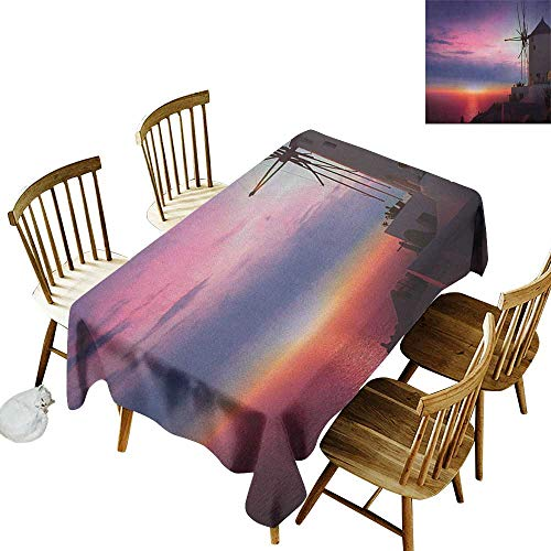 kangkaishi Waterproof Anti-Wrinkle no Pollution Long Tablecloth Beautiful Oia Village Santorini Island Greece Colorful Sky Idyllic Aegean W14 x L72 Inch Multicolor