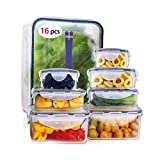 Magicdo Food Storage Containers with Lids, Well Sealed Easy Snap Lock Clear Plastic Container Set for Microwave Oven Freezer & Dishwasher Safe (16 Piece Set)