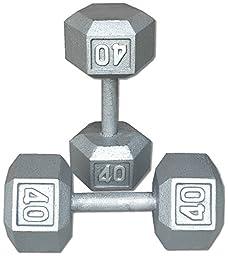 Pair 40 Lb. Cast Iron Hex Dumbbells