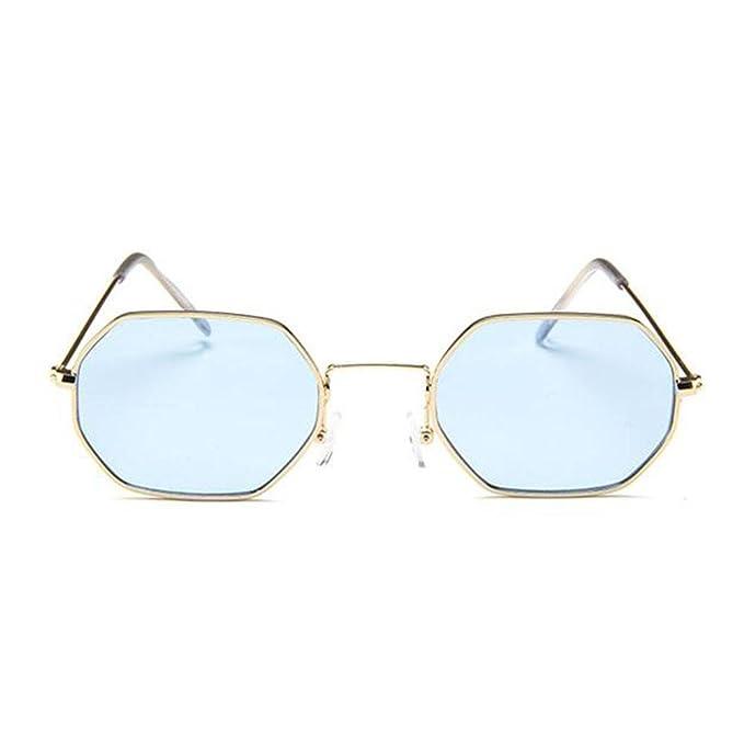 Z&YQ Sonnenbrille Kleine Quadratische Retro Sechskant-Metall-Sonnenbrille Transparente Ozean-Sonnenbrille , Gold Framed Blue Chip