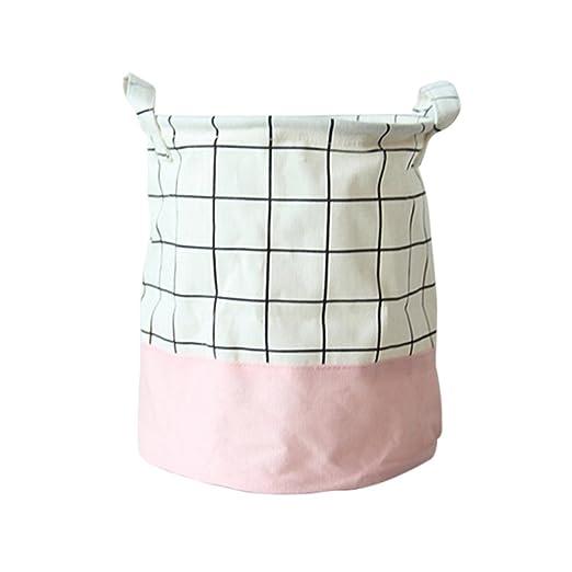 ounona lavander/ía cesta plegable para ropa sucia cesta de almacenamiento bolsa de basura de Kids Toy rosa Grid