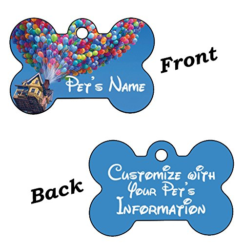 Disney Dream Collection Double Sided Pet Id Tag for Dogs & Cats Personalized with 4 Lines of Text (Up Balloons) by uDesignUSA