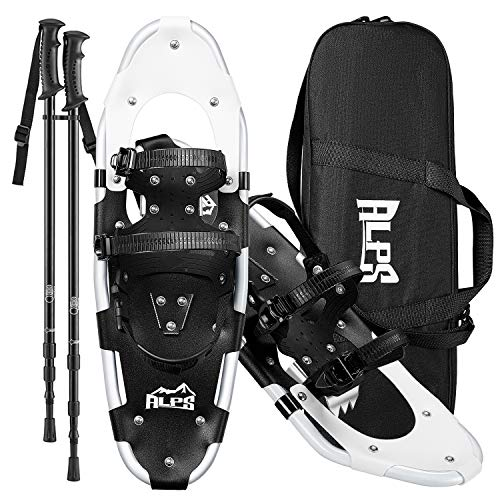 """ALPS Hiking Snowshoes Set with Pair Antishock Snowshoes Poles and Carrying Tote Bag, Snow Shoes 21"""""""