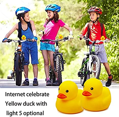 BOERLE Kids Bicycle Horn Cute Bicycle Light Bell Squeeze Horn Child Toddler Child Adult Bicycle Motorcycle Yellow Duck Light Rubber Duck Down Helmet Toy