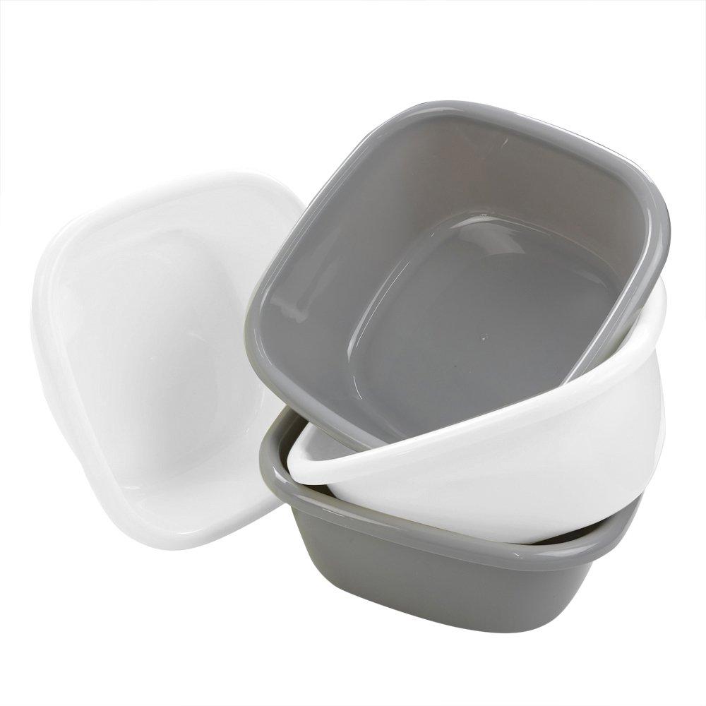 Bblie Plastic Washing Up Bowl Basin, Set of 4, White/Grey, 13