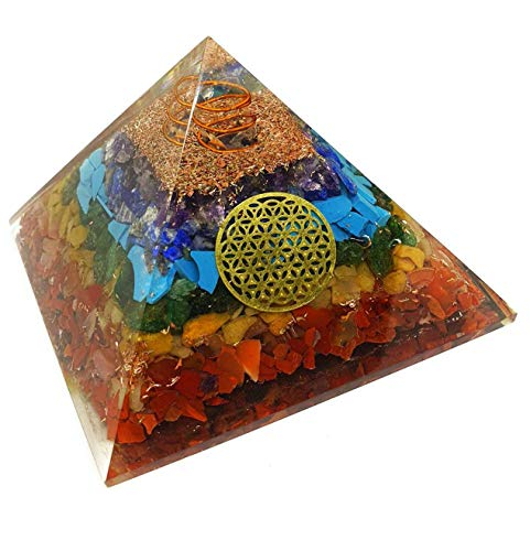 Pura Esprit Orgonite Chakra Pyramid - Flower of Life EMF Radiation Protection 7 Chakra Healing Orgone Energy Accumulator Orgonite Crystal Pyramid for - Meditation Psychic Boost Yoga Anti-Anxiety Kit