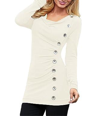 fbb5a88528186 Bigood Slim Femme Pull Col Rond Casual T-Shirt Manche Longue Bouton Blanc  Size S