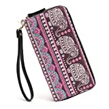 Women Wallet Zip Around Bohemian Purse Canvas Wallet Elephant Pattern Long Clutch Phone Card Handbag with Strap Coin Pocket