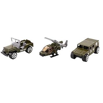 3pcs Juguete de Vehículos de Ejército Militar de Simulación ...