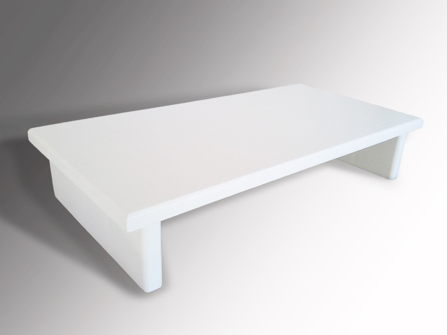 Amazon.com : Monitor Stand P3/4W18 4 Pine White Glossy Paint 18 X 11.5 X  4.75 TV Wood Shelf Riser Furniture Desk Assembled Made In USA NEW : Office  Products