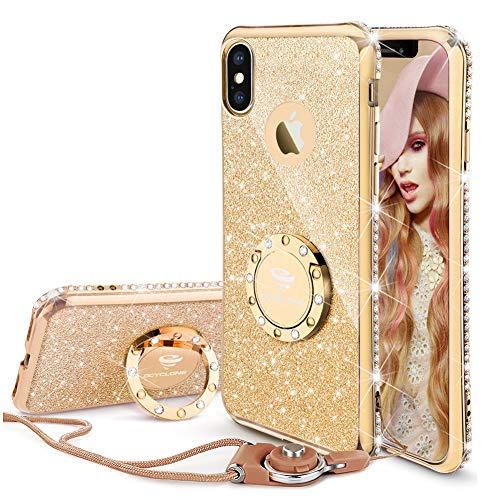 OCYCLONE iPhone X Case for Girl Women, Glitter Cute Girly Diamond Rhinestone Bumper with Ring Kickstand Protective Phone Case for iPhone X - Gold