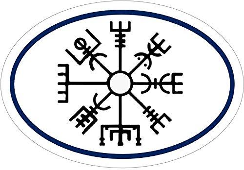 Icelandic Norse Symbol Gift Norse Bumper Sticker WickedGoodz Oval Vinyl Vegv/ísir Compass Viking Decal