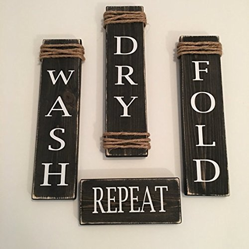 Laundry Room Wash Dry Fold Repeat Black Wooden Signs - Set of 4