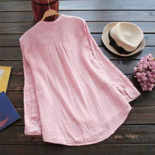 avec Manche 5xl S Longue Taille Lin Amples Tuniques Lenfesh Coton Grande L'Automne Rose Bouton Femmes Et g6TqqW1zB