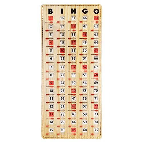 MR CHIPS Master Board Bingo Cards Slide Shutter - Deluxe - Stitched Borders - Wood Grain Color - 14.75