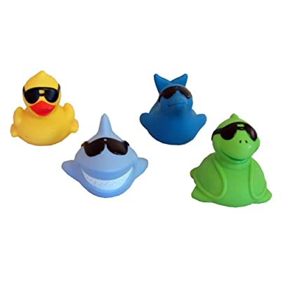 GAME Floating Light Up Pals - 4 Pack (1 Duck, 1 Dolphin, 1 Shark & 1 Turtle): Garden & Outdoor