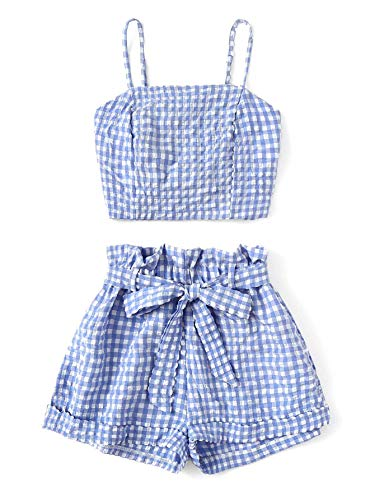 (DREAGAL Women's 2 Piece Outfit Summer Plaid Crop Cami Top with Belted Shorts Set Blue S)