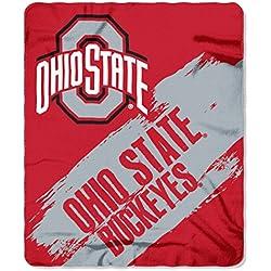 "NCAA Ohio State Buckeyes Painted Printed Fleece Throw Blanket, 50"" x 60"", Scarlet"