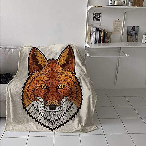 maisi Fox Super Soft Lightweight Blanket Wild Fox Portrait in Mosaic Inspired Style Furry Animal Smart Eyes Mascot Icon Oversized Travel Throw Cover Blanket 70x50 Inch Orange White ()
