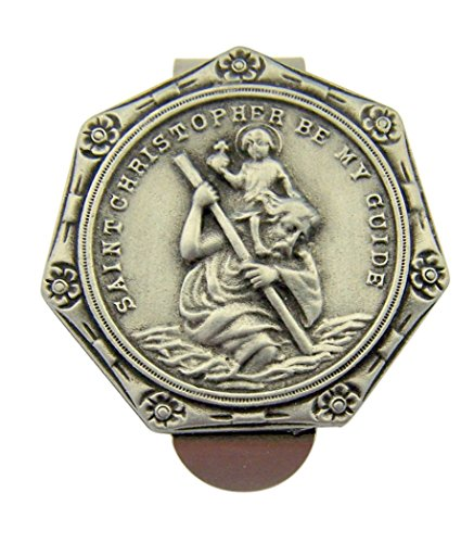 (Pewter Saint Christopher Be My Guide Visor Clip with Flower Border, 1 1/2 Inch)