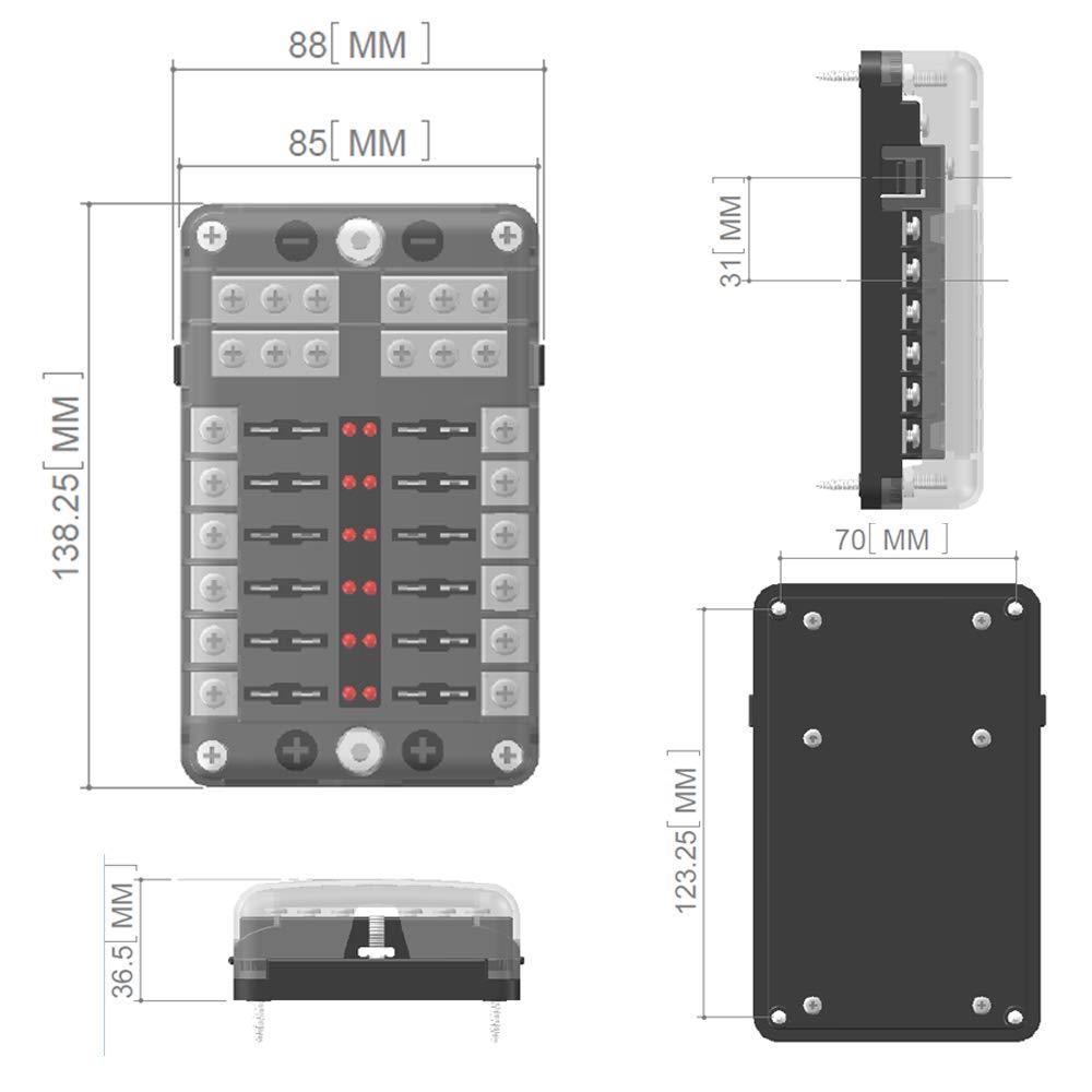 JOYHO ATC//ATO Fuse Box with Ground Bolt Connect Terminals,70 pcs Stick Label LED Light Indication /& Protection Cover 6-Way Fuse Block W//Negative Bus For Vehicle Car Boat Marine Auto
